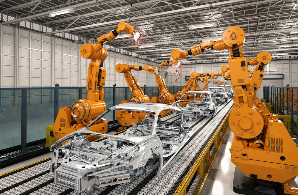 3d,Rendering,Robot,Assembly,Line,In,Car,Factory