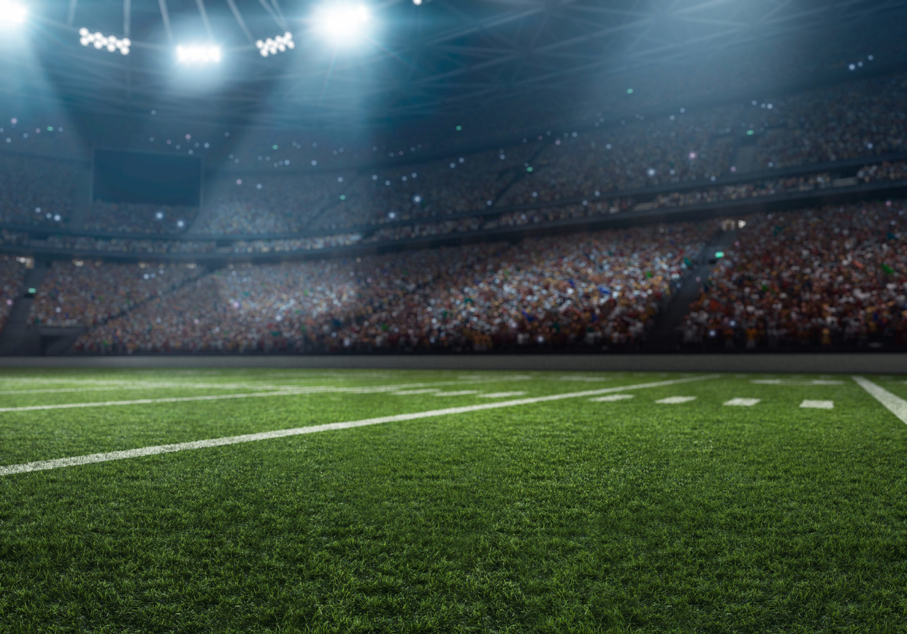 Dramatic,3d,Professional,American,Football,Arena,With,Green,Grass,And